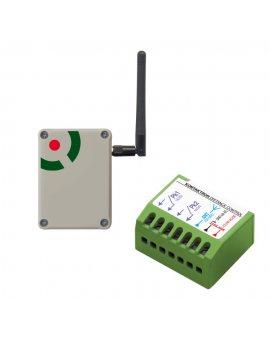 Proxima Kontaktron Distance Control dwa czujniki kontaktronowe połączone z centralą alarmową nie przewodem, a dwustronną transmisją radiową dużego (nawet 1km) zasięgu