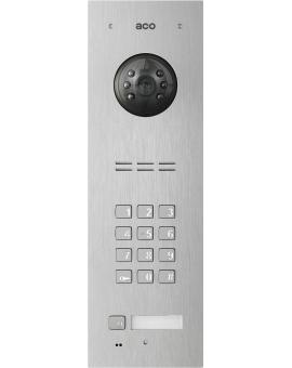 ACO FAM-PV-1NPZSACC Panel cyfrowy Familio PVACC z 1 przyciskiem, zamkiem szyfrowym, czytnikiem kart zbliżeniowych, podtynkowy, stal nierdzewna