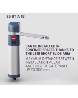 BFT E5 BT A 18 Niesamohamowny siłownik elektromechaniczny do bram wjazdowych o szerokości do 1.8m i wadze do 100kg